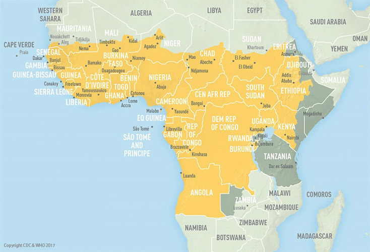 Yellow fever map Africa CDC Jan 2017 2